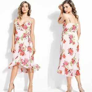 Guess Daydream Gingham Floral Wrap Dress
